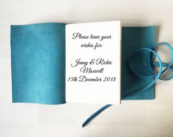 Blue wedding, beach wedding guest book, personalized leather guestbook, handbound, beach wedding scrapbook A5