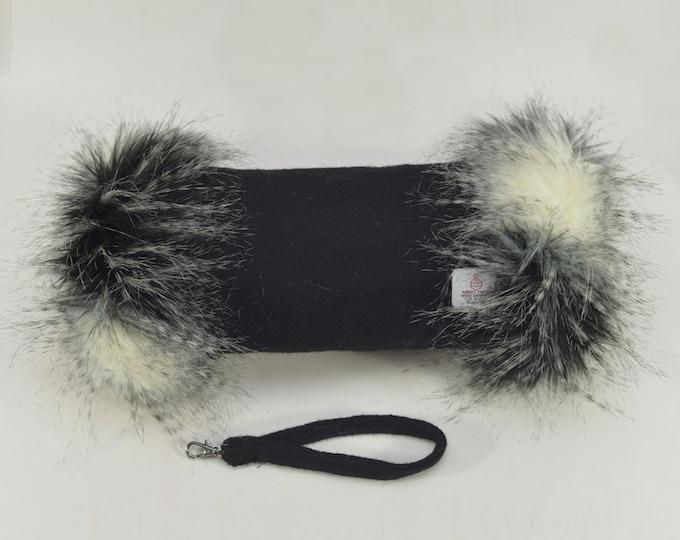 Harris Tweed 100% Wool Jet Black Hand Muff with Black, Grey & White Faux Fur Trim