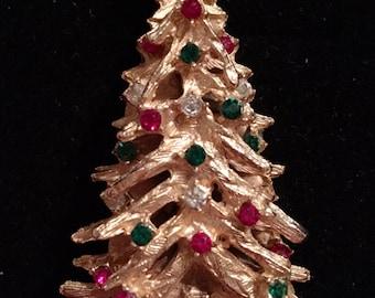 Rhinestone Christmas Tree Brooch / Pin