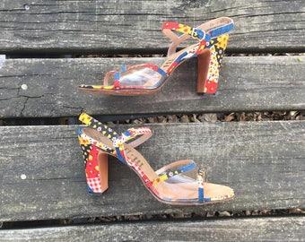 Sandals- Size 7 N Strappy Heels Retro Bohemian Boho Hippie Open Toe Ankle Strap Mijji Womens 7 Narrow Width