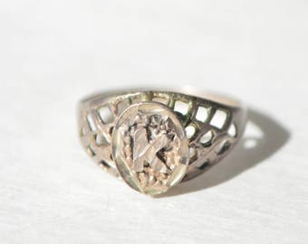 Vintage Sterling Silver 925 Filigree Initial K Ring Size 6.5