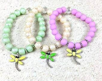 Dragonfly Bracelet, Kids Bracelet, Dragonfly Jewelry, Girls Bracelet, Beaded Bracelet, Charm Bracelet, Stretch Bracelet, Stretchy Bracelet