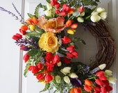 Spring Wreath, Summer Large Wreath, TUSCANY FLOWERS Poppies Roses Tulips Lavender Wreath 27in- New Arrivals