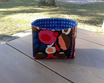 Waterproof basket made from Marimekko oil cloth fabric Tuppurainen, nursery bathroom organizer, storage bin, flower gift basket, home decor