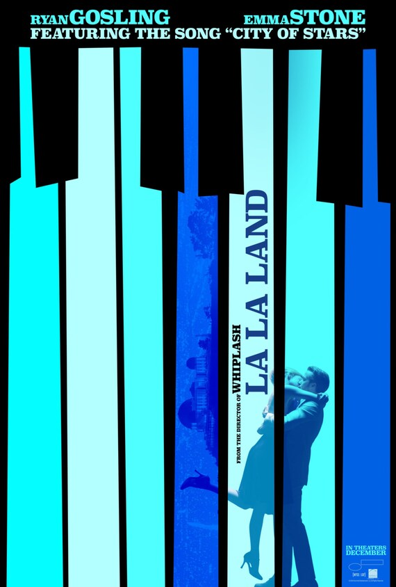 "La La Land 2016 Musical Movie Emma Stone Ryan Gosling Poster, La La Land Print, Emma Stone Poster, Movie Art, Size 13x20"" 24x36"" 32x48"" #4"