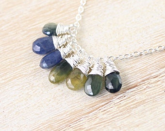 Blue, Green & Yellow Sapphire Pendant. Sterling Silver Cluster Necklace. Multi Gemstone Jewelry. Delicate Wire Wrapped Sapphire Necklace