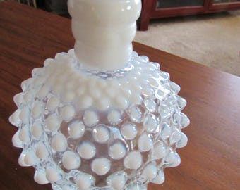 Fenton Opaque and Clear Glass Hobnail Vase
