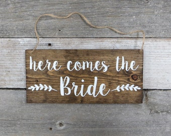 "Rustic Hand Painted Wood Wedding Sign ""Here Comes the Bride"" - Ring Bearer Sign, Flower Girl Sign, Wedding Ceremony  - 12""x5.5"""