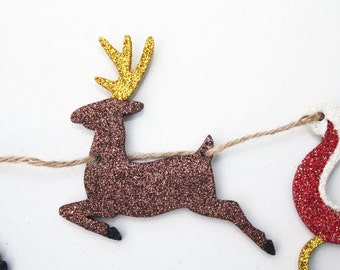 Christmas Bunting, Festive Garland, Santa's Sleigh, Reindeer, Traditional Decoration, Wall Art, Glitter Ornament, Wooden Bunting, Statement
