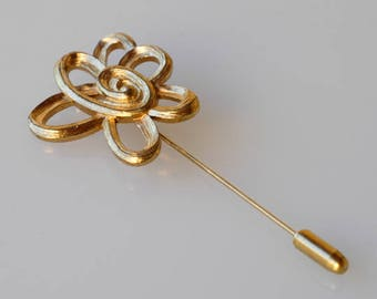 brooch pin / JACQUES ESTEREL / JE / french vintage flower midcentury modern designer jewellery / scarf hat pin / made in France 1970s