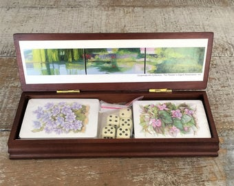 Playing Cards Two Decks with Dice Wood Box Set New Deck of Cards Floral Playing Cards with Engravable Plaque Reader's Digest Floral Cards
