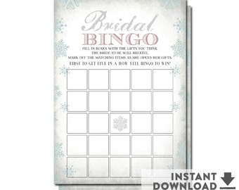 Winter Bridal Shower Bingo Card Printable Gray Light Muted Blue Snowflake Bridal Shower Games Printable (Instant Download ) No.294BRIDE