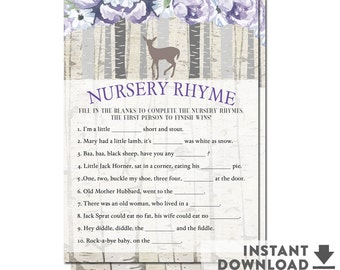 Baby Nursery Rhyme Game / Purple Lavender Floral Woodland Fawn Baby Shower Printable (Instant Download) Printable No.1425BABY