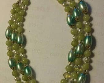 Vintage Three Strand Spring Green Beaded Necklace
