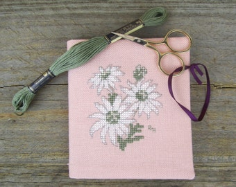 Cross stitch needlebook on dusty pink evenweave and green patterned fabric lining - Flannel Flower.