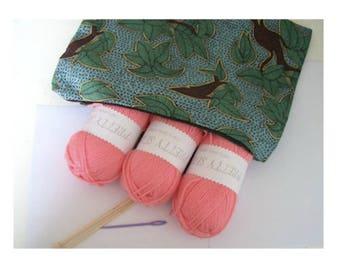 Knitting Kit knitting bag with wool and needles Green bag