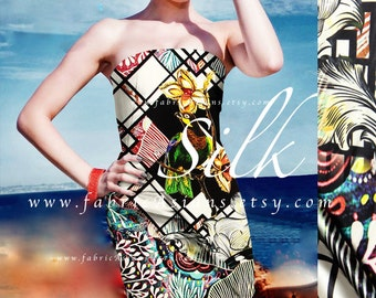 Psychedelic Silk 118x120cm Parrot Fabric Black Satin