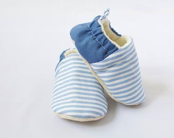 Blue and white stripe baby moccs, pram shoe, pre walker