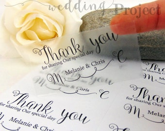 Custom Thank You Clear or White Labels, Wedding Labels, Wedding Sticker, Thank You Sticker, Wedding Favors, Return Address Labels, Stamp