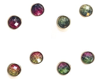 HYPOALLERGENIC EARRINGS Glitter Earrings 8mm SMALL Stud Earrings (Surgical Stainless Steel) - Multi, Clothing Gift