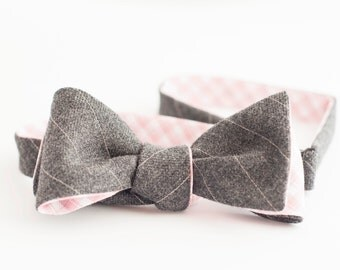 Gray pinstripe wool & pink plaid cotton bow tie - double sided