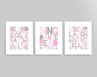 Printable Girl playroom rules art prints Nursery wall Art Prints playroom decor pink grey playroom ( cc073 ) ( 014s810 )