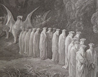 Dante's Purgatory by Gustave Dore Antique Print circa 1880 (48) Hell Occult