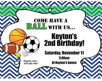 Sports/Football/Basketball/Soccer/Tennis/Baseball Birthday Invitation