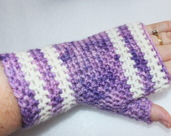 Purple Fingerless Gloves - Ladies Gloves - Long Wristwarmers - Alpaca Gloves - Gift for Her - Ready to Ship