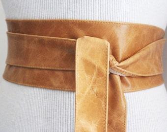 Leather Belt Distressed Tan Brown | Obi Belt | Womens Belt| Handmade Belt | Wrap Belt