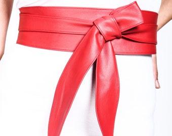 Bright Red Leather Obi Tulip Tie Belt | Waist Corset Belt | Leather tie belt | Real Leather Belt| Various sizes