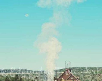 Geyser, Yellowstone, Travel photography, Yellowstone National Park, Old Faithful, nature photography, landscape decor, yellow, lodge, blue