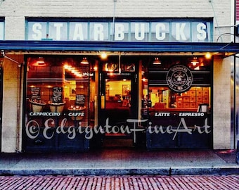 Starbucks photo, Starbucks original building, Travel photography, Seattle photo, coffee, red, architectural photo, typography, home decor