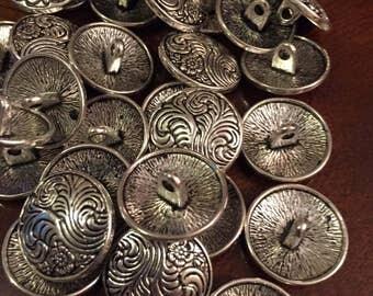 17mm silver flower fern metal shank button, set of 10