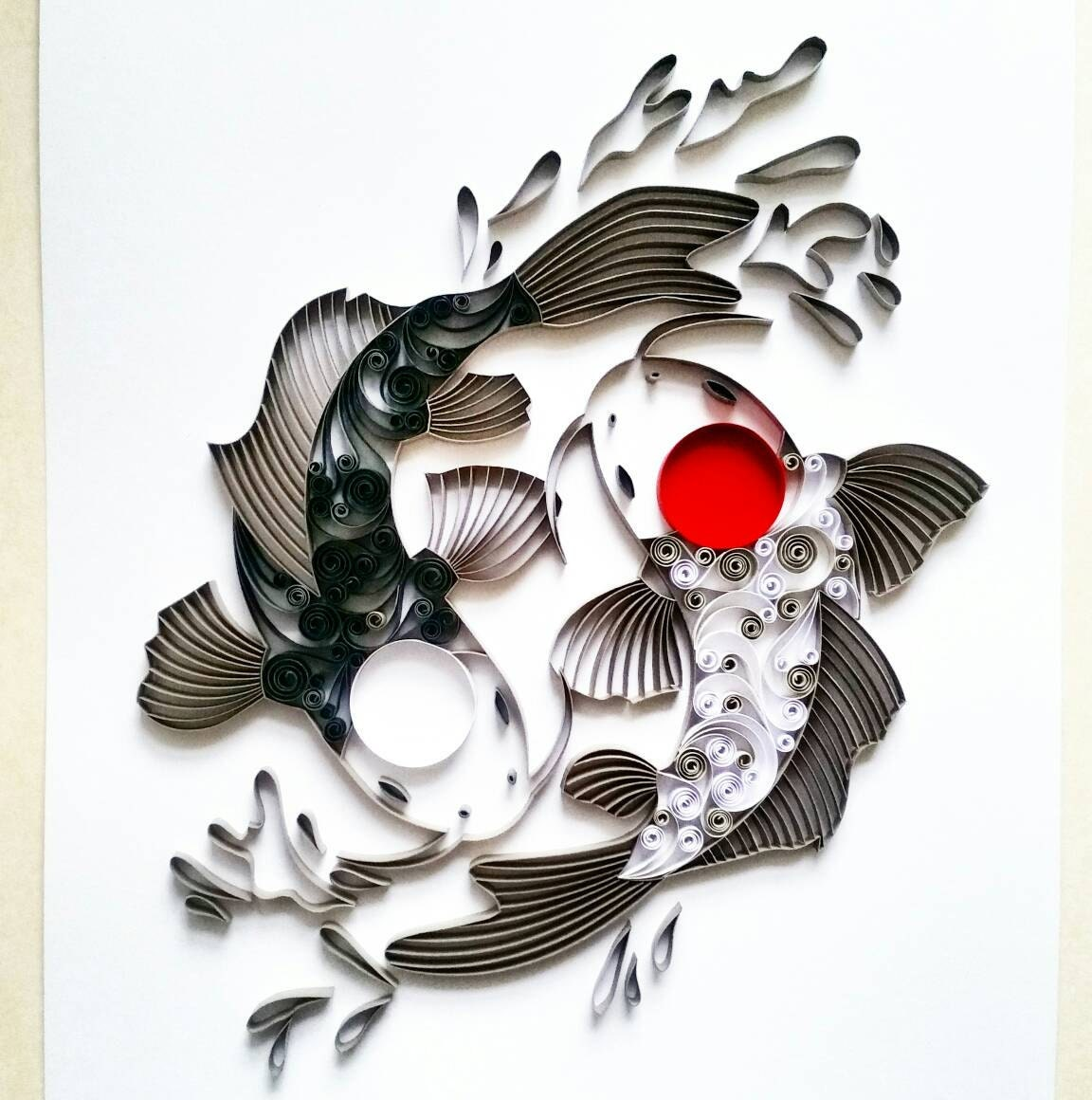 Quilled paper art koi fish yin yang koi fish paper art for Japanese fish decoration