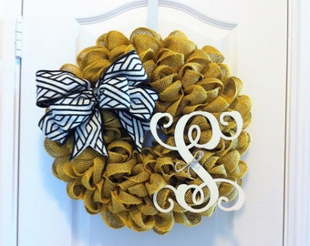 Yellow Burlap Wreath ~ Option to Add Bow and Letter