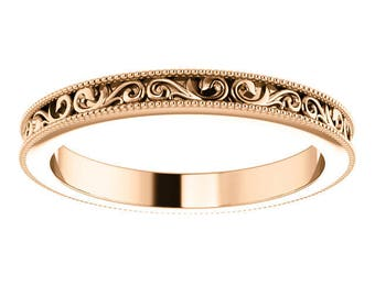 Any Color 14K Gold Vintage Style Band