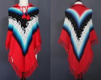 60's Poncho.....60's Southwest Motif Acrylic Knit Poncho