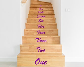 Stair Stickers,  Stair Decals  -  1 to 10, One to Ten, Black White Blue Green Orange Yellow Red Grey Pink Purple Silver Gold .