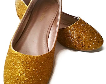 Glitter Flats / Beauty & The Beast Inspired Glitter Flats / Gold Girl's Flats / Gold Glitter Flats / Wedding Shoes / Sparkly Flats