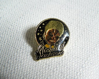 Vintage 80s Michael Jackson Starry Background Enamel Pin / Button / Badge