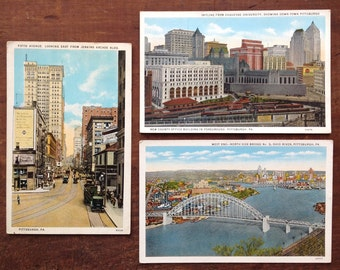 Pittsburgh, Vintage Postcards, West End showing Northside Bridge,  Skyline from Duquesne, Fifth Avenue with Jenkins Arcade, Rare