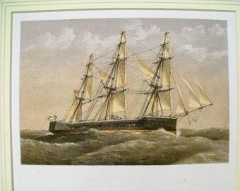Antique Colour Lithographic Print HMS Captain Victorian Ships Royal Navy (6161)