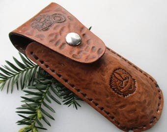 Knife Sheath, Leather Knife Sheath, Leather, Sheath, Motorcycle, Live To Ride, Handtooled Knife Sheath