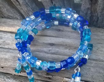 Blue on Blue Memory Wire Bracelet