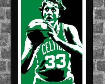 Boston Celtics Larry Bird Portrait Sports Print Art 11x17