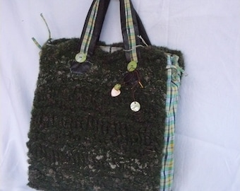 handmade bag made of fabric and wool