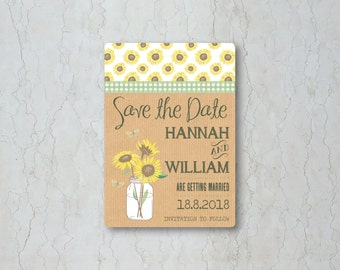 Sunflowers Save the Date Card or Magnet