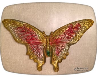 Ceramics Butterfly Vintage Classic 60s Sixties 70s seventies retro CUTE home decor butterflies wall hanging plaque art Gold Pink Green hippy
