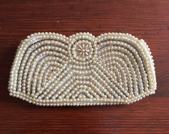 1930s Vintage Microbead Evening Small Clutch Purse Bag